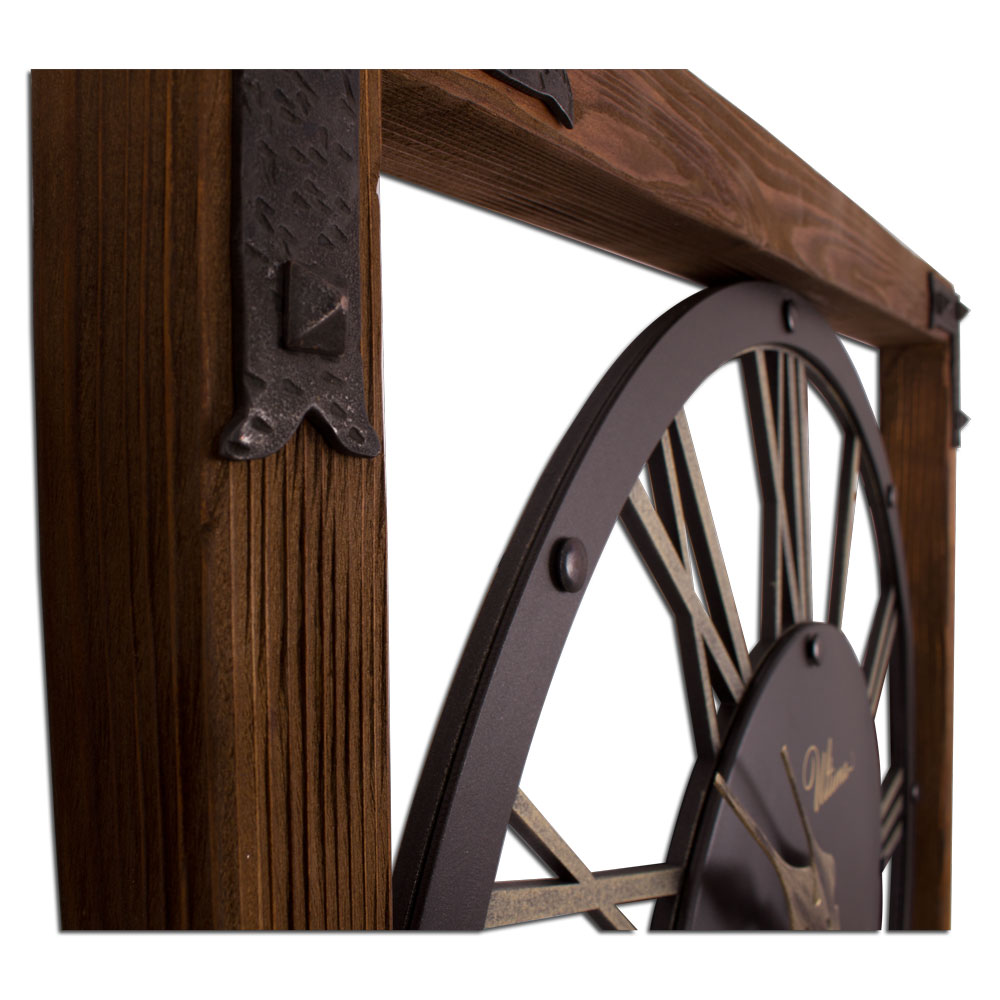 Ultima 2696 Abg2 Aged Wooden And Rustic Metal Wall Clock