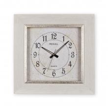 1369 W3 Rustik Beyaz Ahşap Desenli Köşeli Saat