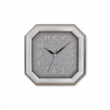 150 S2 Gümüş Yaldız Sekizgen Ahşap Duvar Saatı