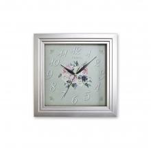 151 S2 Gümüş Renk Kare Ahşap Duvar Saatı