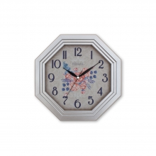 154 S2 Gümüş Yaldız Sekizgen Ahşap Duvar Saatı