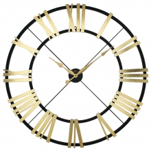 26100 BG Metal And Wood Gilded Large Size Skeleton Wall Clock
