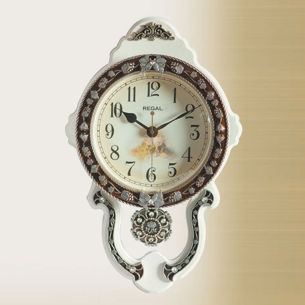 8132 Wi Relief Pattern White Pendulum Wall Clock