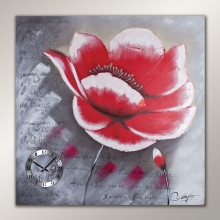 Y5 9100100 Big Size Red Flower Painting Clock