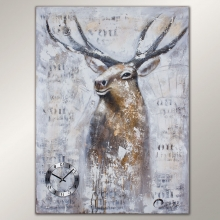 990120 Y6 Big Size Deer Painting Clock.